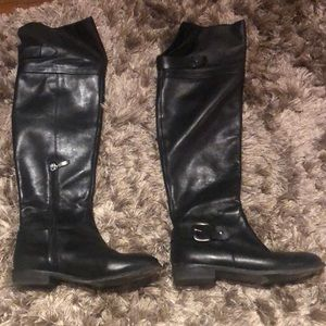 Beautiful black leather over knee boots
